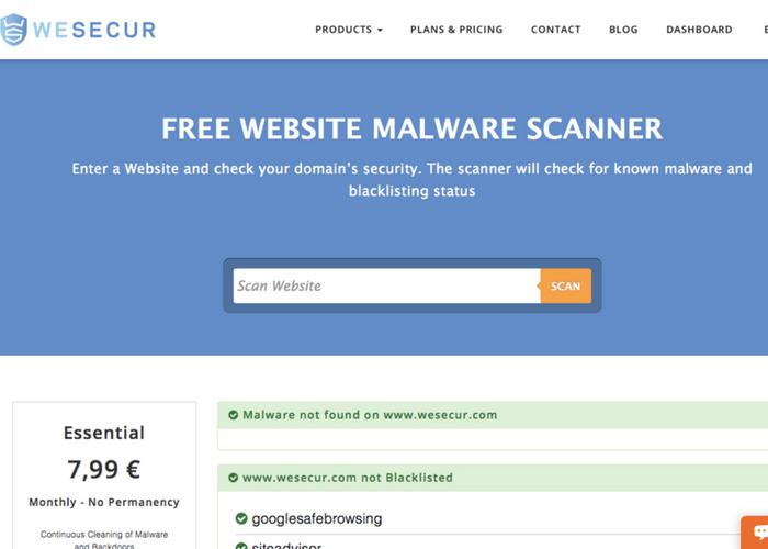 WeSecur website scanner